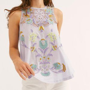 FREE PEOPLE Flower Power Embroidered Tank {QQ17}